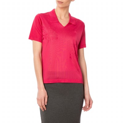 Woman polo short sleeves in Fil Lumiere Dolly
