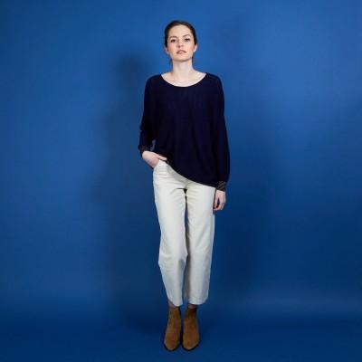 Linen cashmere round neck sweater - Amber