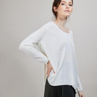 Round neck viscose crepe sweater - Babouche