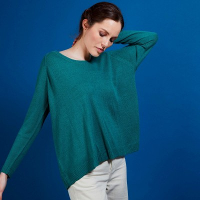 Round neck viscose crepe sweater - Babouche