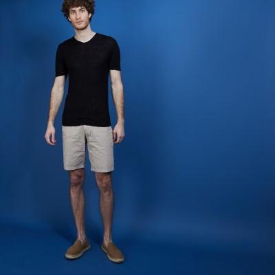 V-neck t-shirt in flamed linen - Bobélia