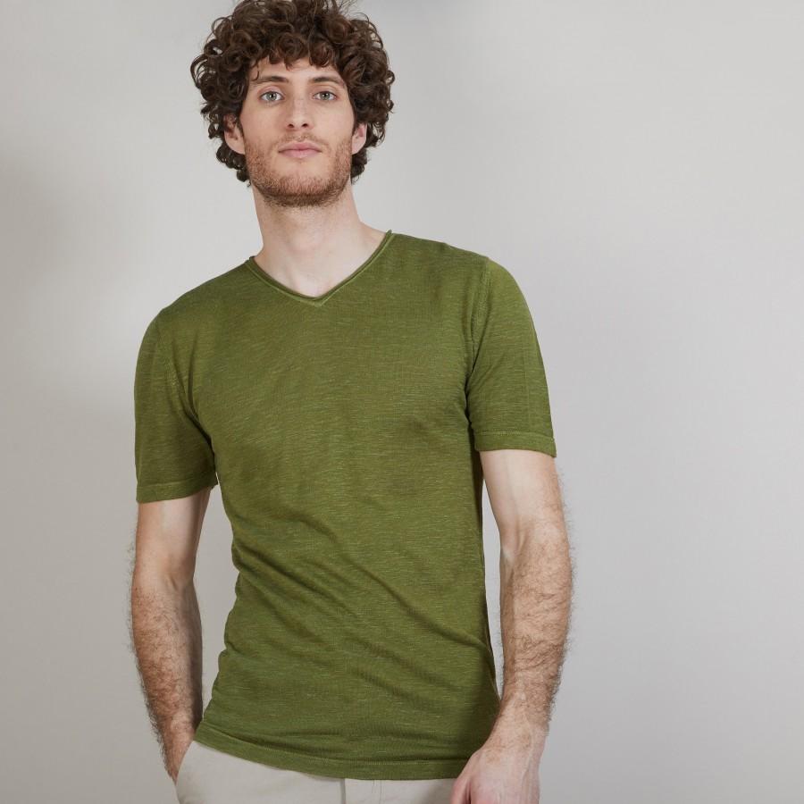 T-shirt col V en lin flammé - Bobélia 6851 maquis - 83 Kaki