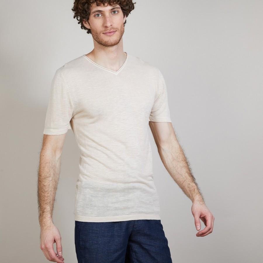 T-shirt col V en lin flammé - Bobélia 6801 beige - 12 Beige clair