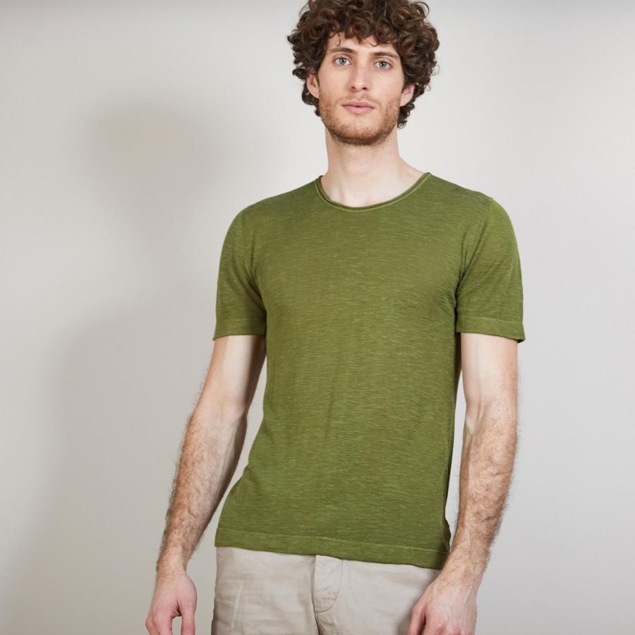 T-shirt col rond en lin flammé - Boséa 6851 maquis - 83 Kaki
