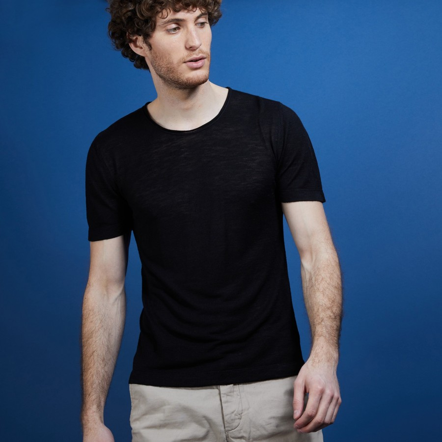 T-shirt col rond en lin flammé - Boséa 6810 noir - 01 Noir