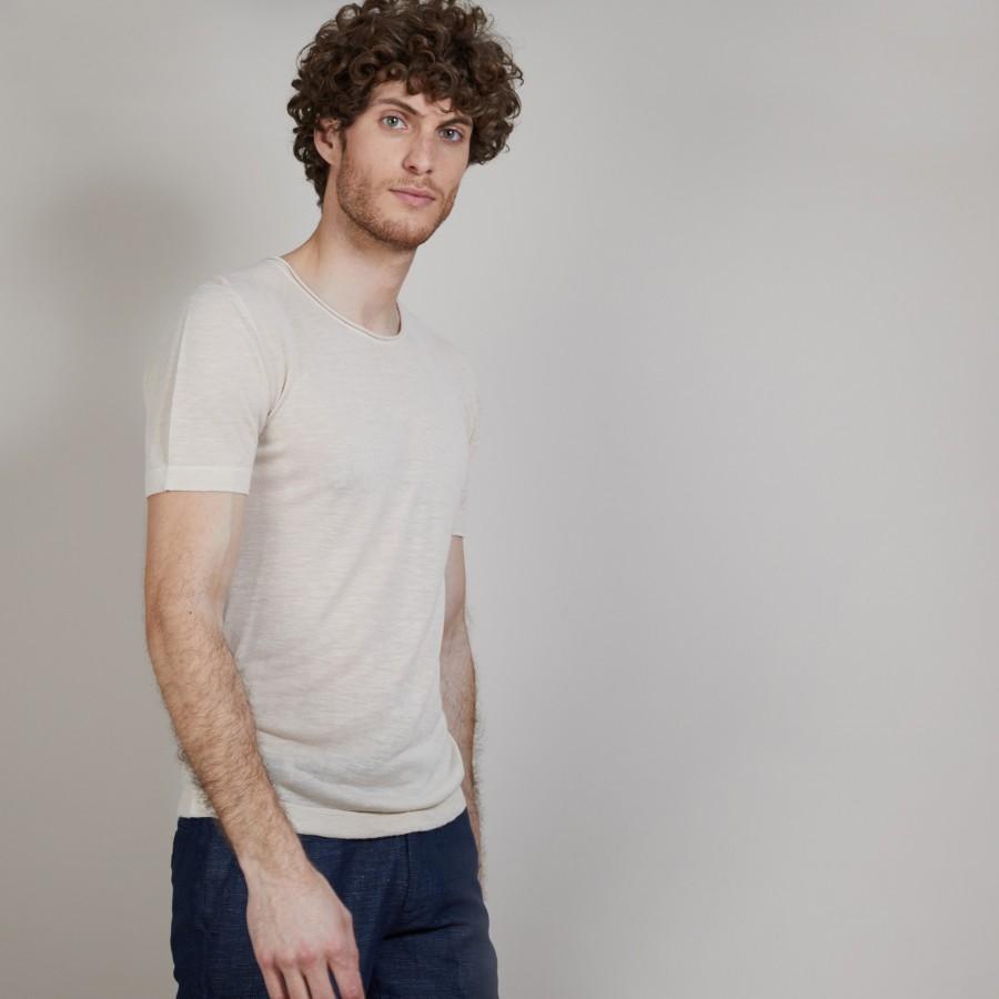 T-shirt col rond en lin flammé - Boséa 6801 beige - 12 Beige clair