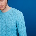 Pull torsadé en coton - Dublin 6842 delta - 06 Bleu moyen