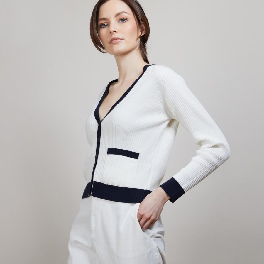 Gilet en coton bio - Alexia 6909 blanc/marine - 02 Blanc