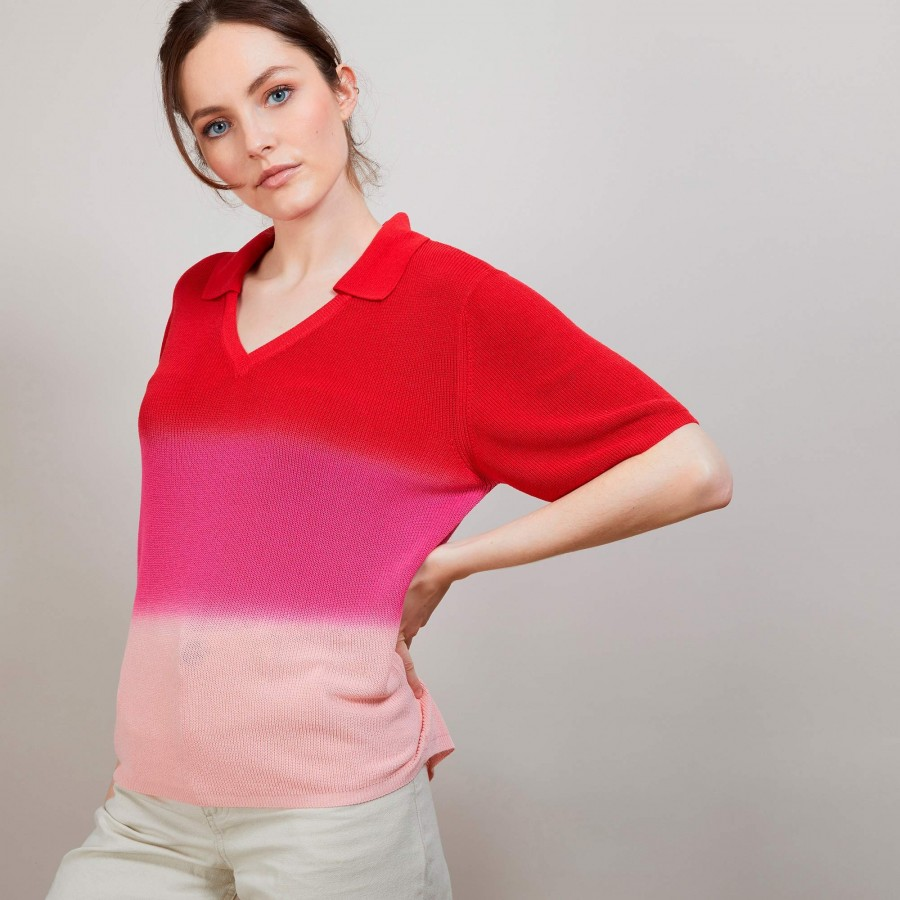 T-shirt effet tie and dye - Connor 6925 pavot - 52 Rouge
