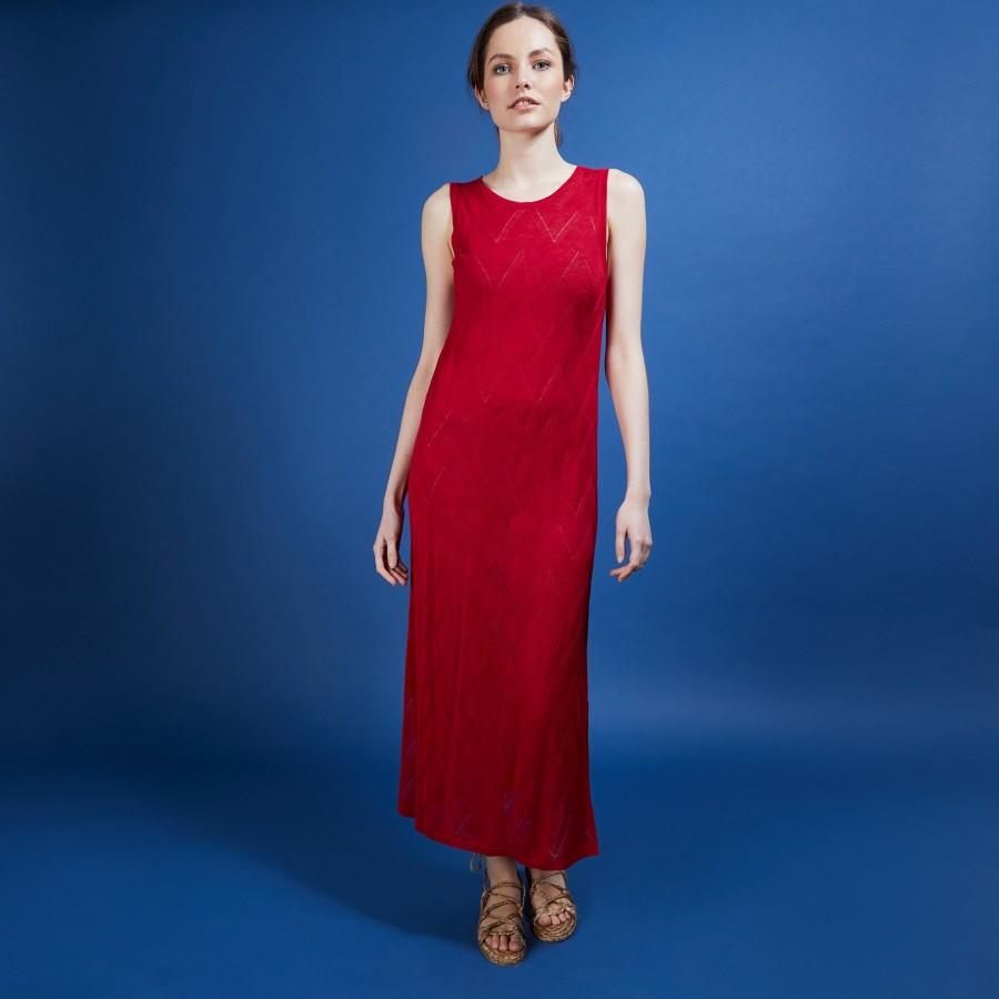 Longue robe en lin flammé - Come 6881 grenade - 51 Bordeaux