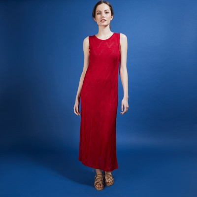 Long flamed linen dress - Come