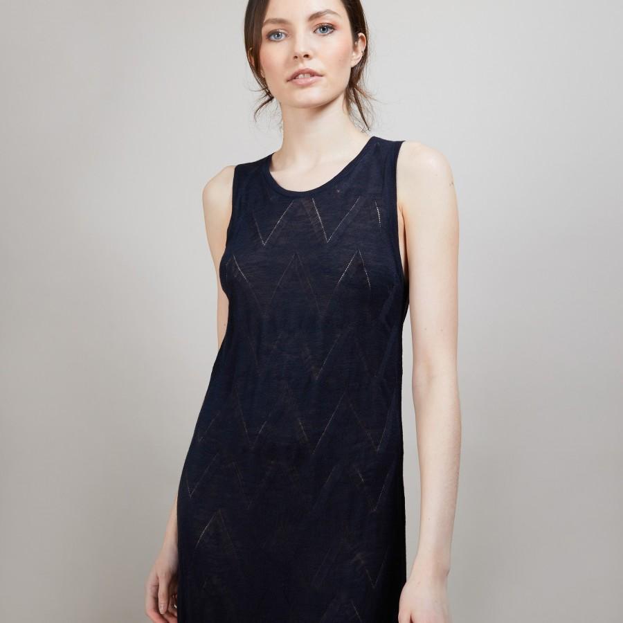 Longue robe en lin flammé - Come 6840 marine - 05 Bleu marine