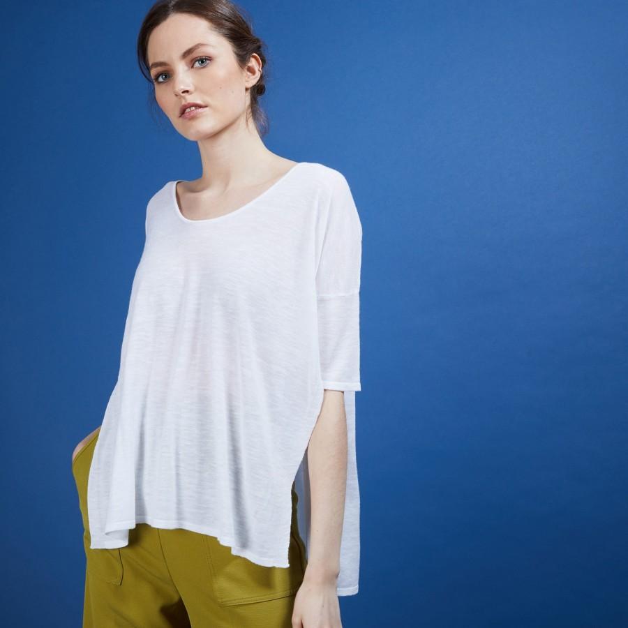 T-shirt oversize en lin flammé - Batalya 6800 blanc - 02 Blanc