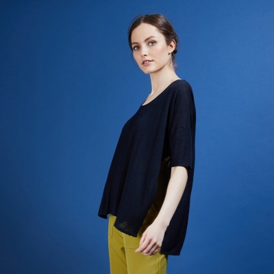 Oversized flamed linen T-shirt - Batalya