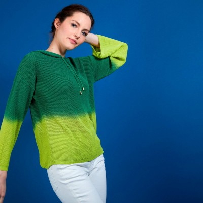 Gradient hooded sweater - Colombe