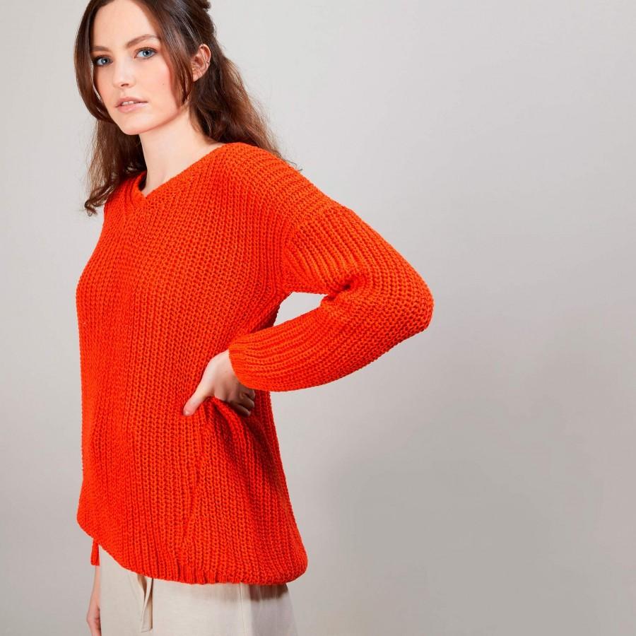 Pull col V en soie laine coton - Bulle 6883 flamine - 15 Orange