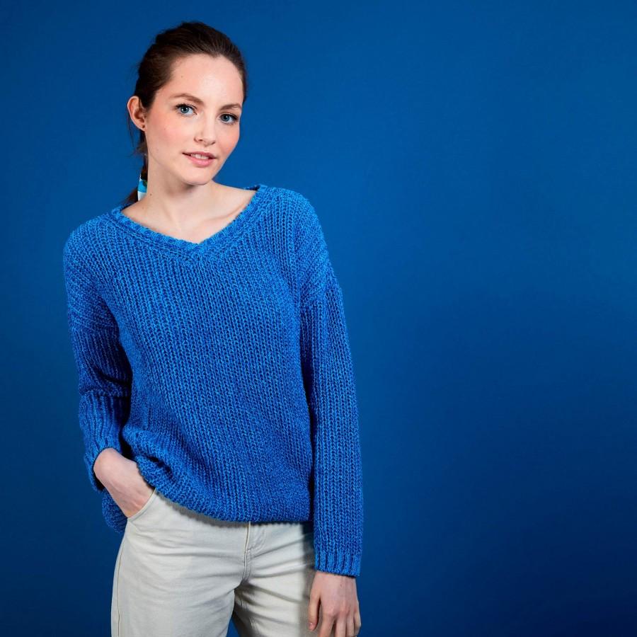 Pull col V en soie laine coton - Bulle 6843 azur - 06 Bleu moyen