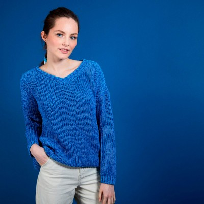Ribbed knit V-neck sweater - Bulle
