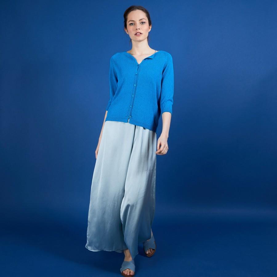 Cardigan femme en viscose crepe - Boubou 6843 azur - 49 Turquoise