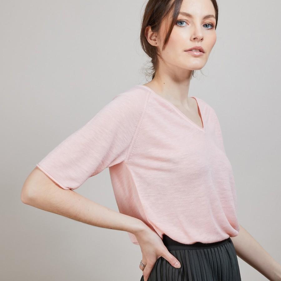 T-shirt en lin manches coudes - Bonbon 6882 aubepine - 24 Rose clair