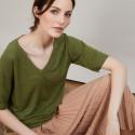 T-shirt en lin manches coudes - Bonbon 6851 Meleze - 83 Kaki