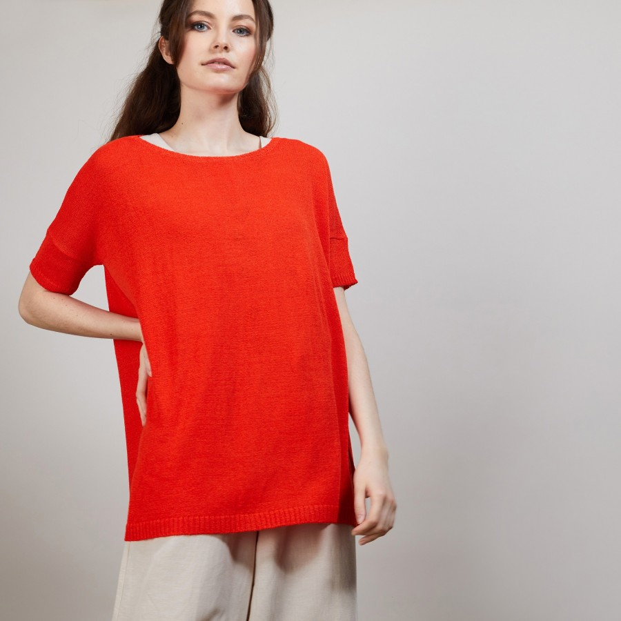 T-shirt col rond en viscose crepe - Bibiche 6883 flamine - 15 Orange