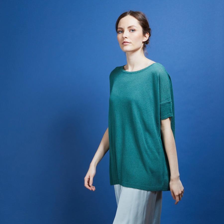 T-shirt col rond en viscose crepe - Bibiche 6852 meleze - 21 Vert foncé