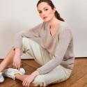 Pull col V en soie coton et laine - Blovis 6801 beige - 13 Beige moyen