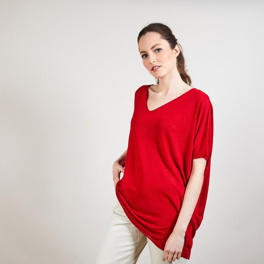 T-shirt long en lin flammé - Bil 6880 pavot - 52 Rouge