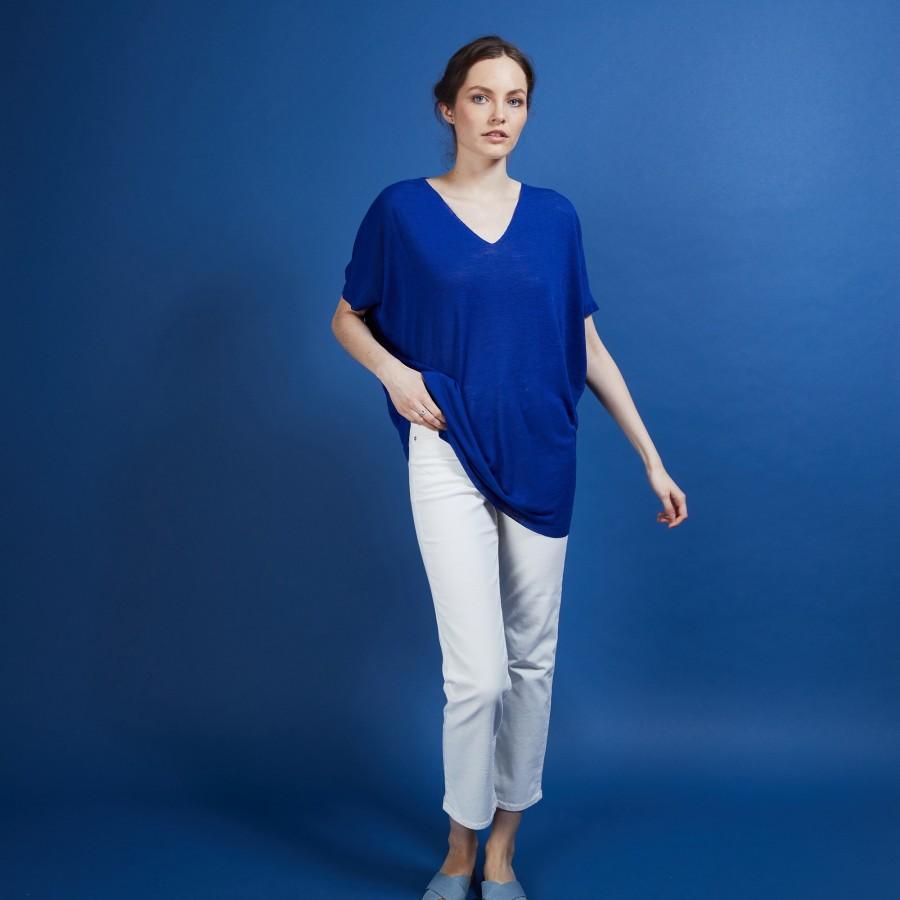 T-shirt long en lin flammé - Bil 6841 altitude - 03 Bleu foncé