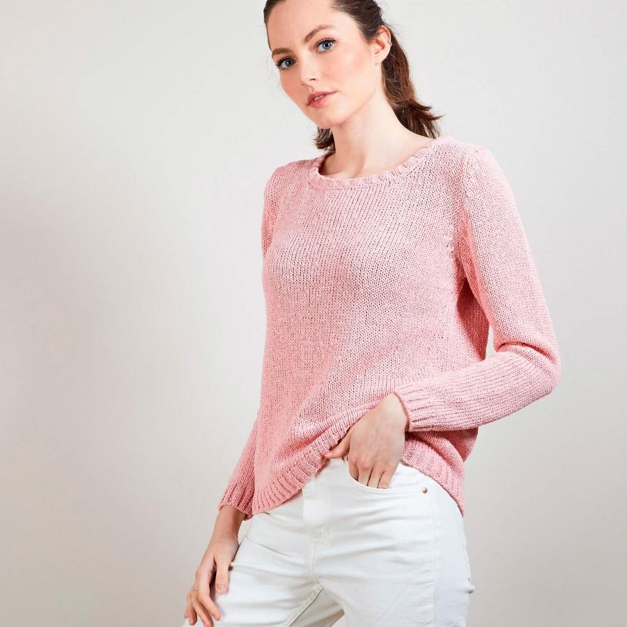 Pull col rond en soie coton et laine - Benji 6882 aubepine - 25 Rose moyen