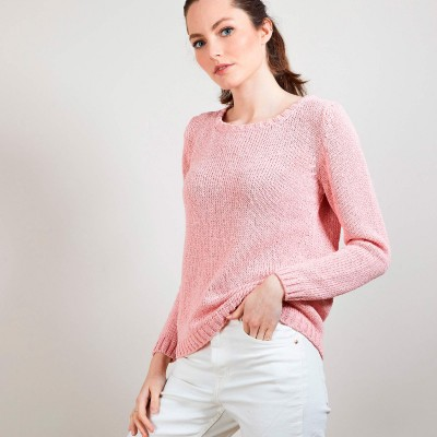 Cotton and wool silk round neck sweater - Benji