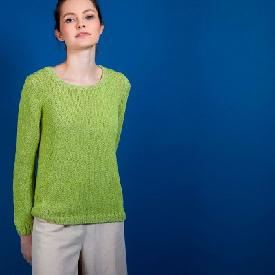 Cotton and wool silk round neck sweater - Benji