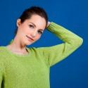 Pull col rond en soie coton et laine - Benji 6852 pollen - 90 Vert anis