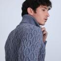 Pull torsadé en laine et yak - Raison 6643 bleu ciel - 06 Bleu moyen