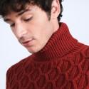 Pull torsadé en laine et yak - Raison 6681 rouge - 20 Rouge foncé