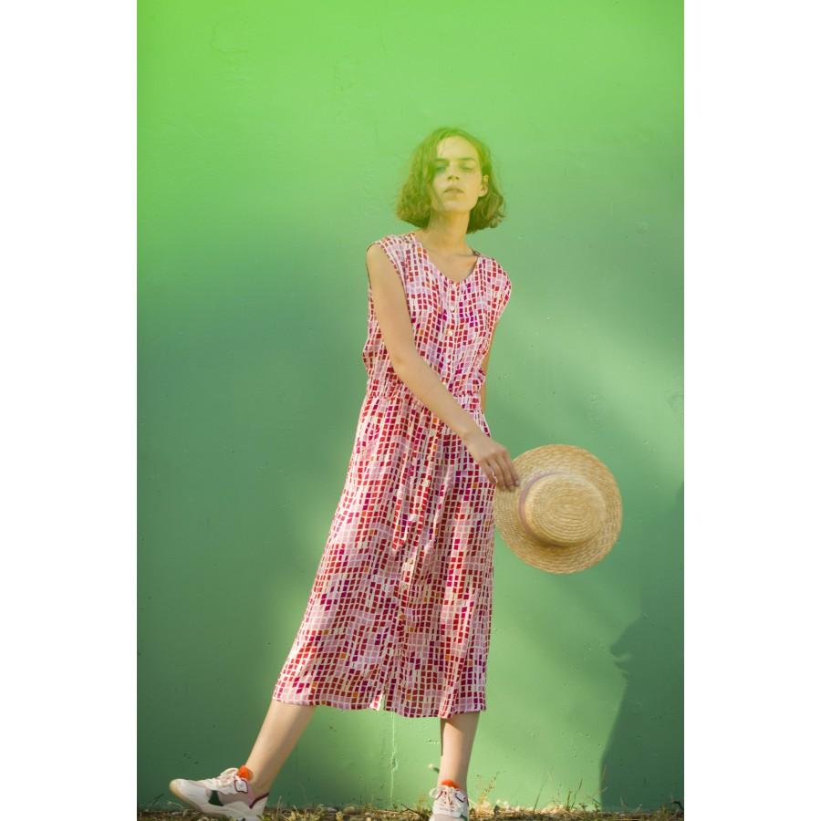Longue robe à motifs mosaïque - Alicante 6966 grenade print - 25 Rose moyen