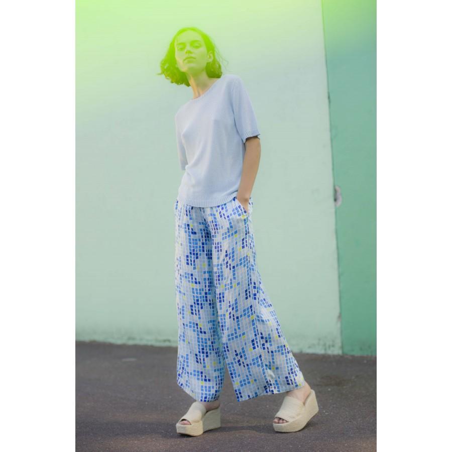 Pantalon à motifs mosaïque - Agadir 6955 altitude print - 06 Bleu moyen