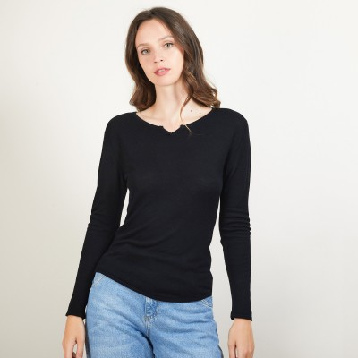 Pull col tunisien en Bambou Cachemire - Betty