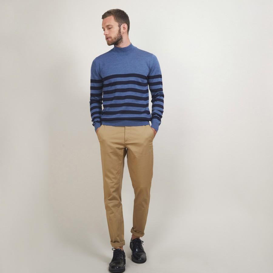 Pull rayé col montant en laine - Lazar 7147 baltique/marine - 06 Bleu moyen