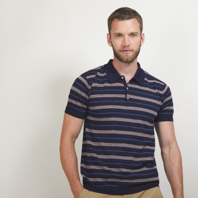Short-sleeved striped wool polo shirt - Lary