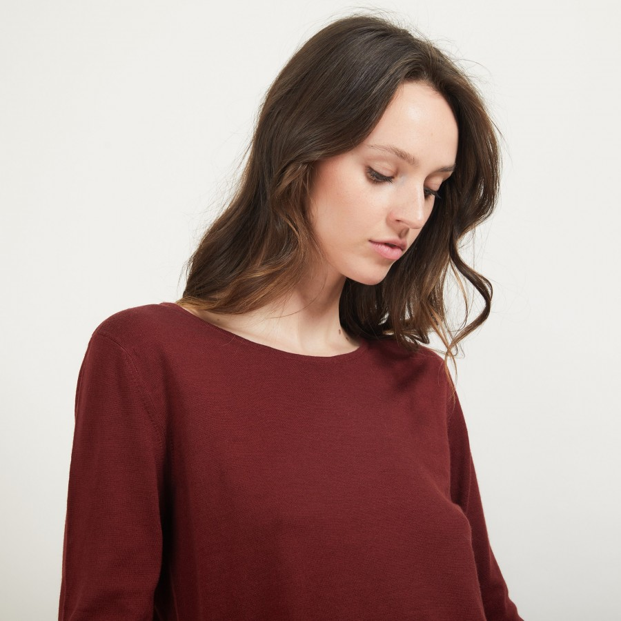 Pull col rond 100% Laine - Betina 7082 grenat - 51 Bordeaux