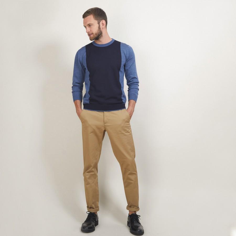 Pull bicolore en laine - Lasso 7147 baltique/marine - 06 Bleu moyen