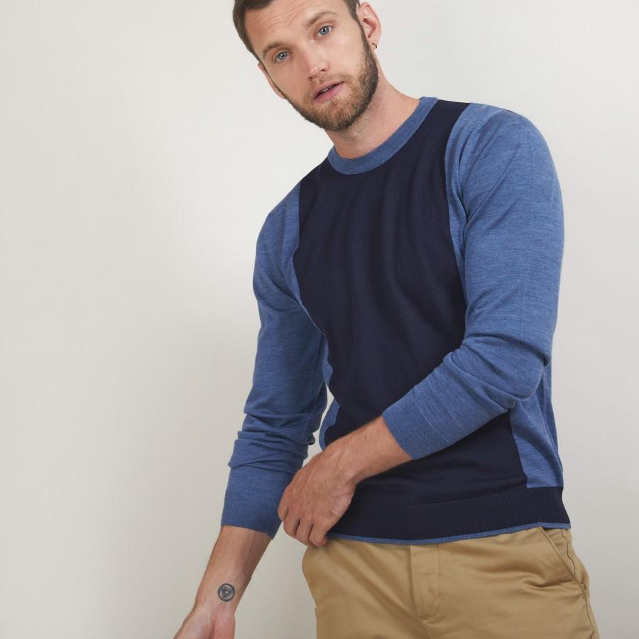 Pull bicolore en laine - Lasso 7147 baltique/marine - 05 Bleu marine