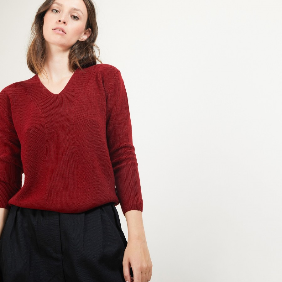 V-neck wool sweater - Fathia