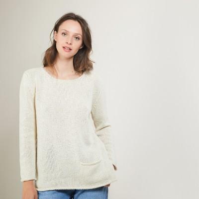 Round-neck wool and silk sweater - Bajira