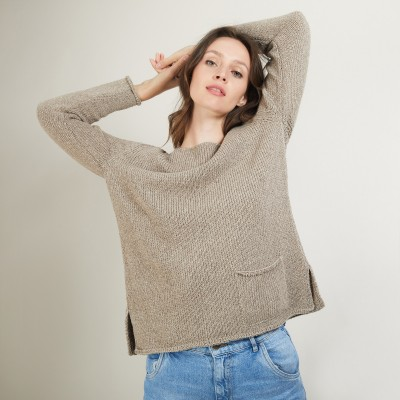 Round-neck wool and silk sweater - Bajira