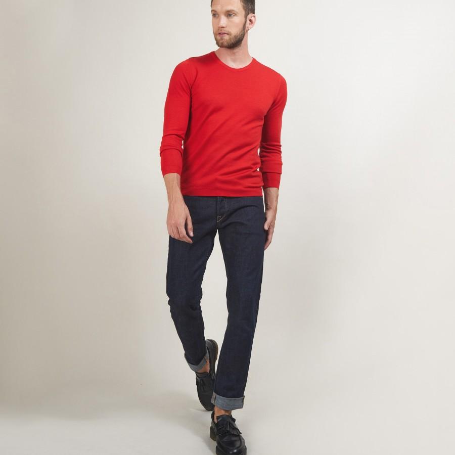 Pull col rond en laine - Bardem 7080 dahlia - 52 Rouge