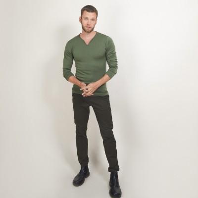Wool sweater with Tunisian collar - Bono