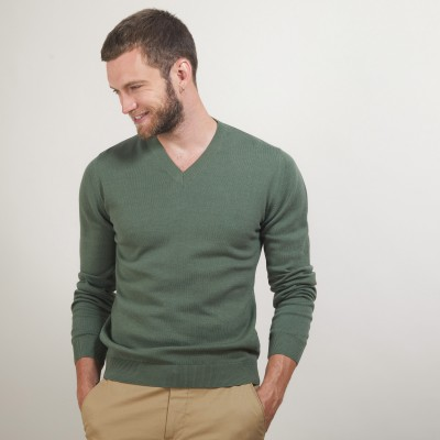 Cotton cashmere V-neck sweater - Brent